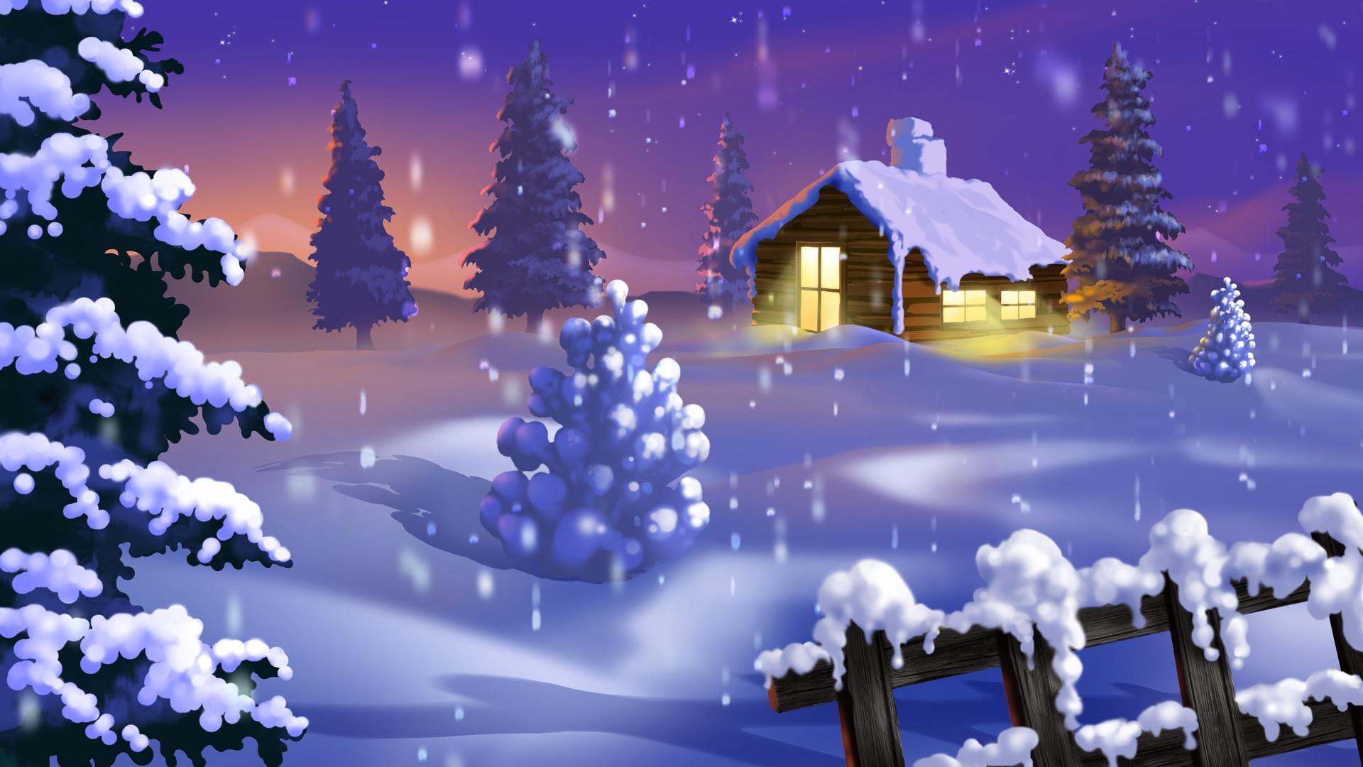 картинка 2019 домик зимой